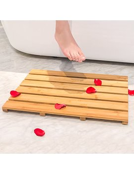 Bamburoba Bath Shower Mat Bamboo Bathroom Floor Non Sliding Square Spa Sauna Mat With 22x15 Inch By by Bamburoba
