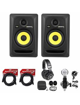 "(2) Krk Rp5 G3 Rokit Powered 5"" Studio Monitors+Headphones+Condenser Mic+Cables by Krk"