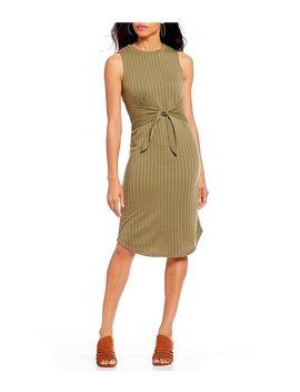 Kaitlin Knit Twist Tie Front Ribbed Midi Dress by Generic