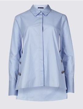 Pure Cotton Press Stud Long Sleeve Shirt by Marks & Spencer