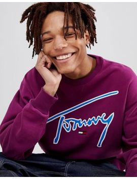 Tommy Jeans Signature Capsule Logo Front Sweatshirt Relaxed Fit In Purple by Tommy Jeans