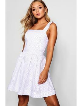 Cotton Polka Through Ruffle Strap Skater Dress by Boohoo
