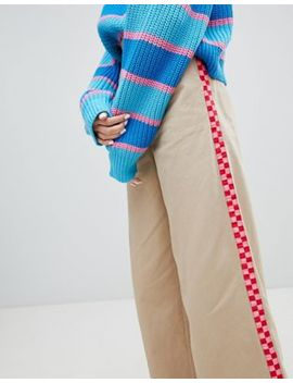 Lazy Oaf Wide Leg Pants With Checkerboard Stripe Detail by Lazy Oaf