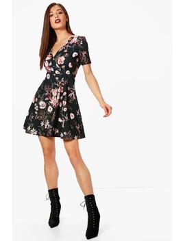 Wrap Floral Skater Dress by Boohoo