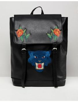 Asos Design Backpack In Faux Leather In Black With Flower And Tiger Embroidery by Asos Design