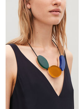 Short Wood Leather Necklace by Cos