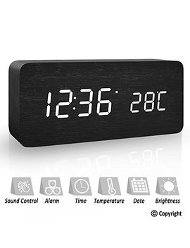 Koepuo Wood Bedside Digital Alarm Clock, Non Ticking Large Temperature & Time Display Design Led Silent Clock Snooze Morning Clock Sound Control Adjustable Brightness Dual Powered For Office Home by Koepuo