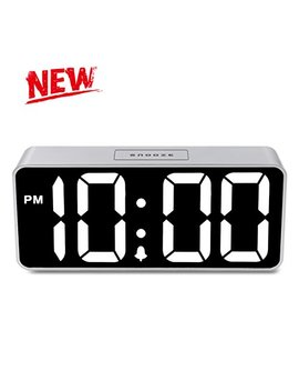 "[Newest Version] I Cker Alarm Clock   9"" Large Display Digital Clock With 0~100 Dimming Mode For Bedrooms, Loud Adjustable Alarm For Heavy Sleepers, Battery Backup And Snooze by I Cker"