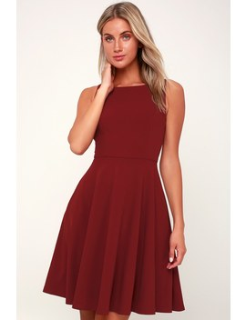 Fall For You Burgundy Skater Dress by Lulu's