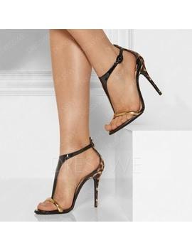 Sandals Pu Leopard T Straps Open Toe Stilettos by Dress We