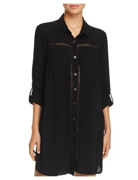 Shirred Boyfriend Shirt Swim Cover Up by Tommy Bahama
