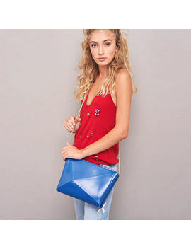 Crossbody Purse, Special Occasion Handbag, Blue Vinyl Shoulder Bag, Vibrantly Vegan , A Piece For Life, A Burst Of Blue, Perfect Compliment by Etsy