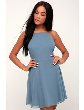 Letter Of Love Slate Blue Backless Skater Dress by Lulu's