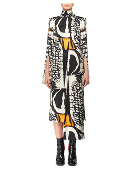 Split Long Sleeve Exploded Bug Print Silk Sheath Dress W/ Attached Scarf by Alexander Mc Queen