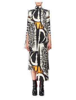 Split Long Sleeve Exploded Bug Print Silk Sheath Dress W/ Attached Scarf by Alexander Mc Queen