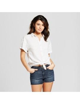 Women's Short Sleeve Stripe Button Down Shirt   Universal Thread™ Blue Stripe by Universal Thread™