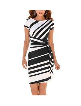 Renxinglin Women Pencil Dress Fashion Stripe Knot Sheath Party Vestidos Robes Casual Party Dress by Renxinglin Dresses