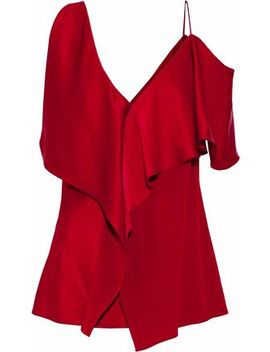 Asymmetric Ruffled Satin Top by Diane Von Furstenberg