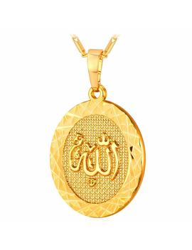 U7 18 K Gold Plated Allah Pendant With 22 Inch Link Chain Necklace by U7