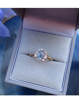 Vintage 9ct Gold Aquamarine And Cubic Zirconia Ring, Size M, Statement Ring, Vintage, Antique, Engagement Ring, Aquamarine,Cubic Zirconia, J by Etsy