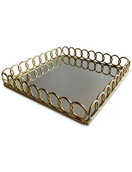 Square Link Mirrored Tray by Jay Imports