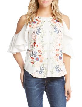 Embroidered Cold Shoulder Ruffle Top by Karen Kane