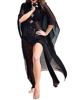 Mei Ling Women's Printed Bathing Suit Cover Up Dress Semi Sheer Chiffon Kimono Cardigan Beachwear by Mei Ling