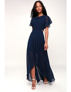 Bohemian Rhapsody Navy Blue Cutout High Low Dress by Lulu's