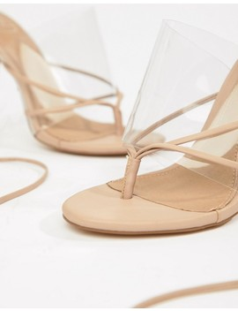 Missguided Clear Lace Up Toe Post Sandal by Missguided