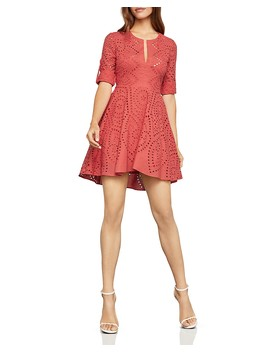 Eyelet Fit And Flare Dress by Bcbgmaxazria