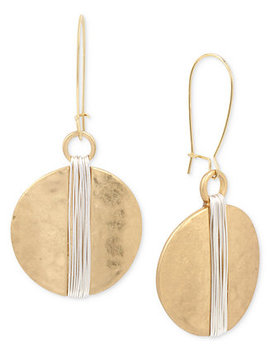 Two Tone Wire Wrapped Hammered Disc Drop Earrings by Robert Lee Morris Soho