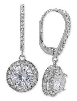 Cubic Zirconia Halo Drop Earrings In Sterling Silver by Giani Bernini