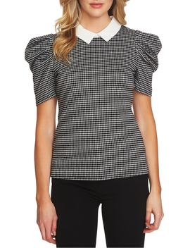 Puff Sleeve Check Knit Top by Cece