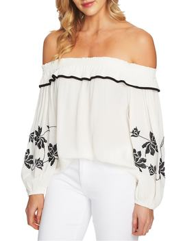 Off The Shoulder Embroidered Blouse by Cece