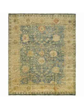 Safavieh Oushak Collection Osh117 A Hand Knotted Medium Blue And Green Wool Area Rug (9' X 12') by Safavieh