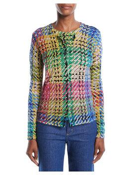 Button Front Multicolor Blanket Weave Cardigan by Escada