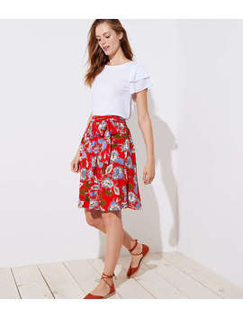 Summer Blossom Tie Waist Midi Skirt by Loft