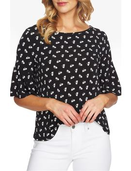 Bell Sleeve Print Tee by Cece
