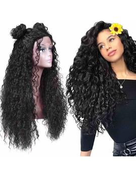 "Armmu 30"" Lace Front Wigs Glueless Long Loose Fluffy Curly Wigs For Women 100 Percents Synthetic Hair Black Wig 1 B Free Part 180 Percents Density Wigs by Armmu"