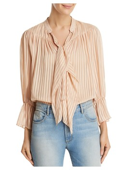 Danika Striped Tie Neck Top  by Alice And Olivia