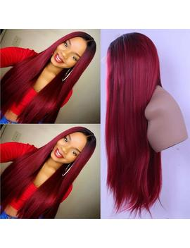 Synthetic Glueless Lace Front Wigs For Women Straight Ombre Red With Dark Roots Heat Resistant Fiber With Natural Hairline 24 Inch Lace Wigs by Newworld Hair