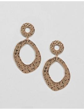 Monki Hammered Metal Circle Earrings In Gold Color by Monki