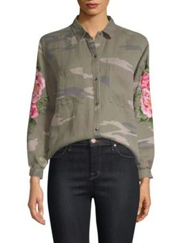 Marcel Camo Floral Embroidered Top by Rails