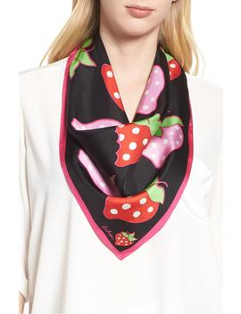 Strawberry Patch Square Silk Scarf by Echo