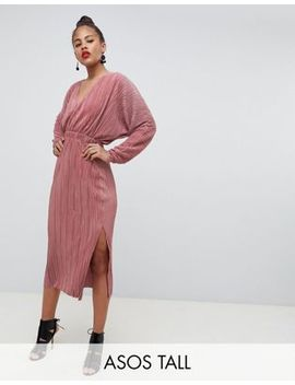 Asos Design Tall Batwing Midi Plisse Dress by Asos Design