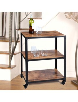 Mind Reader Charm' 3 Tier Wood And Metal Utility Cart & Reviews by Mind Reader