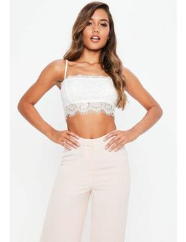 White Eyelash Lace Cami Bralette by Missguided