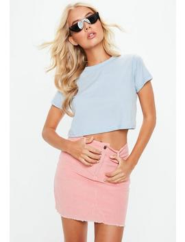 Blue Cap Sleeve Crop Top by Missguided