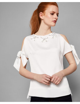Embellished Neck Tie Sleeve Top by Ted Baker