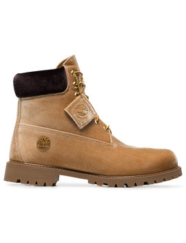 Off White X Timberland Velvet Camel Bootshome Men Shoes Boots by Off White